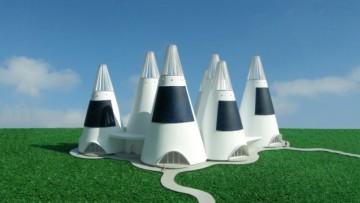 Strutture coniche alimentate da energia eolica e solare