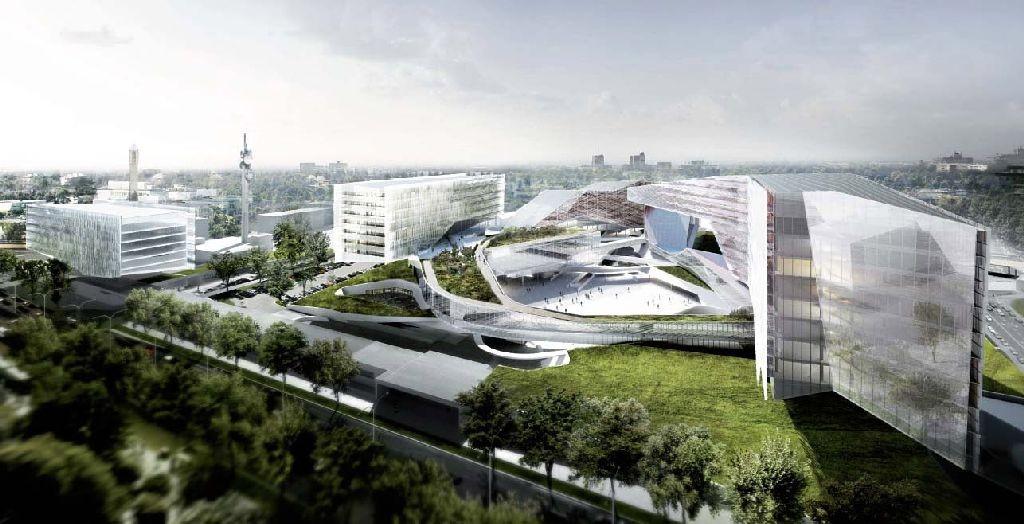 Il Bim obbligatorio in un bando di concorso: il render della sede Eni a San Donato Milanese (Morphosis Architects)