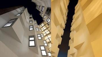 Un canyon architettonico: altezza vertiginosa e luce penetrante