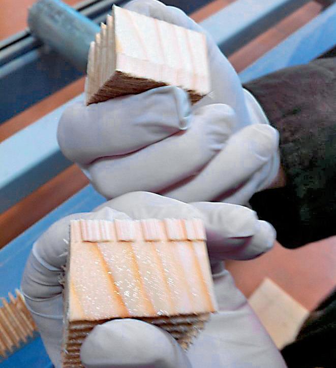 Zenari 1_FIG 1_Controllo di quantità della colla sul giunto detto finger joint (Foto Davide Maria Giachino)