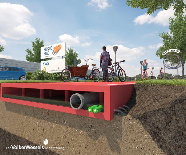Esempio di sezione stradale con alloggiamento degli impianti e delle condutture (Fonte: Volker Wessels)