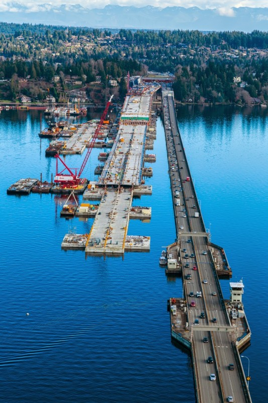 Cantiere del nuovo 520 Floating Bridge – © Washington State Department of Transportation
