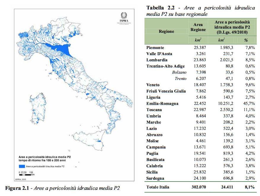 Figura 2-Aree a pericolosita da alluvione su scala regionale