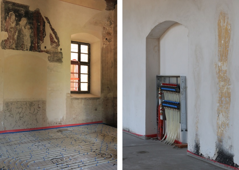 Sistema radiante a pavimento nell'Ex Complesso Monastico Santa Monica (CR). Fonte: LOEX