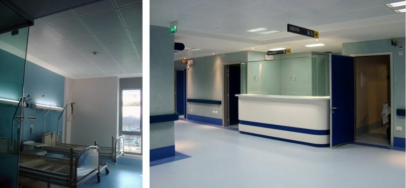 Sistema radiante a soffitto in edificio per la sanità a Brescia. Fonte: RDZ