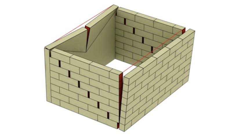 Meccanismi di dissesto di una muratura: primo modo di ribaltamento e secondo modo di rottura a taglio (Disegno di Carlo Blasi)