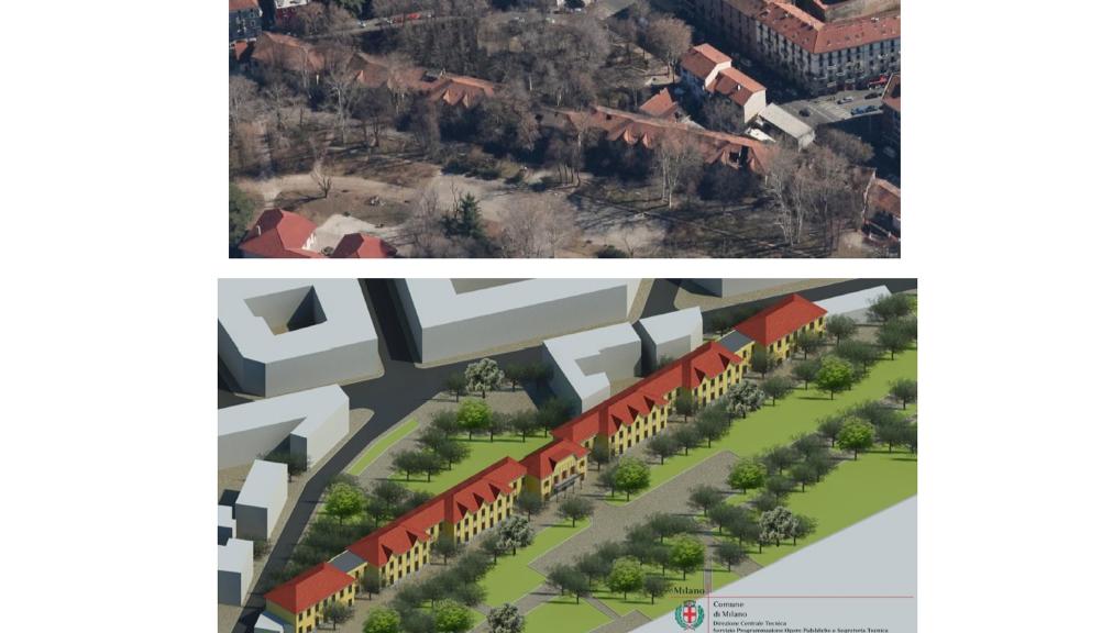 """(a) Stato attuale """"Parco Trotter"""" – area degradata (immagini Tecnostrutture) (b) Progetto di riqualificazione """"Parco Trotter"""" (immagini Tecnostrutture)"""