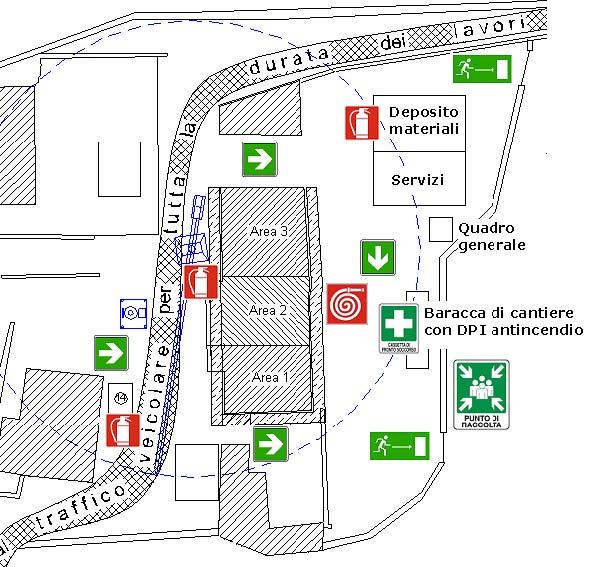 Planimetria dell'organizzazione del cantiere