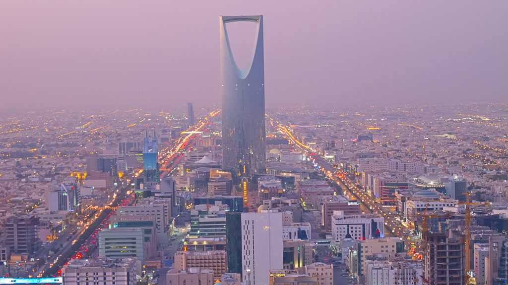 Riyadh, la capitale dell'Arabia Saudita, vista dall'alto. Si intravede la Kingdom Tower