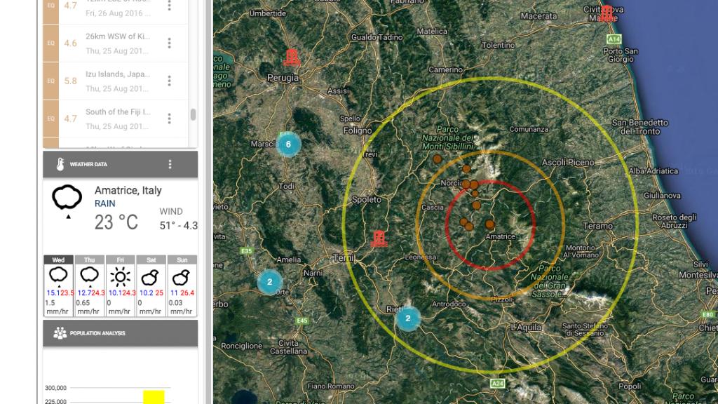 Una schermata esempio del sistema di Early Warning disponibile attraverso il laboratorio geoSDI dell'Imaa-Cnr