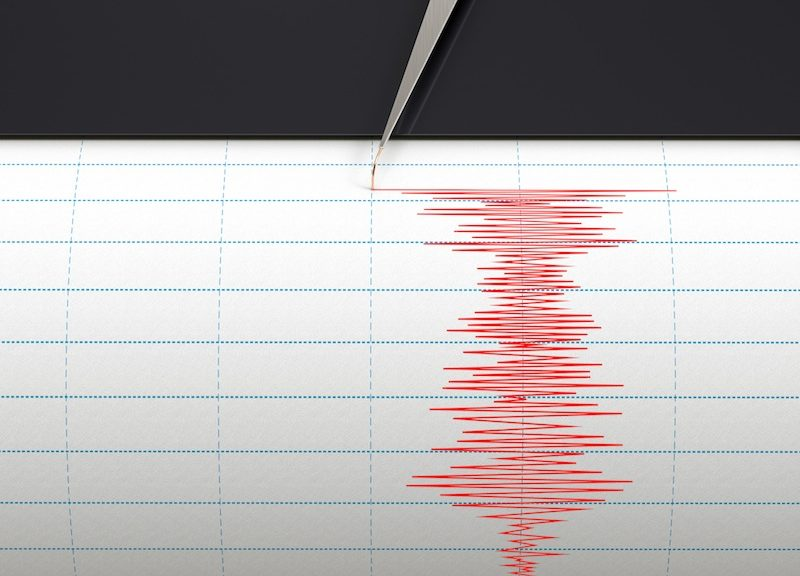 A seismograph instrument recording an earthquake occurring