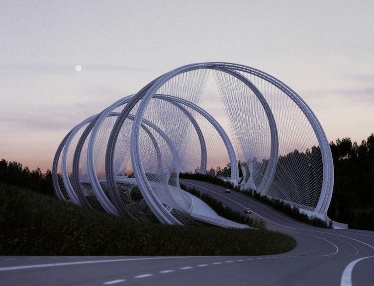 Il San Shan Bridge e la sua successione di anelli intrecciati © Penda