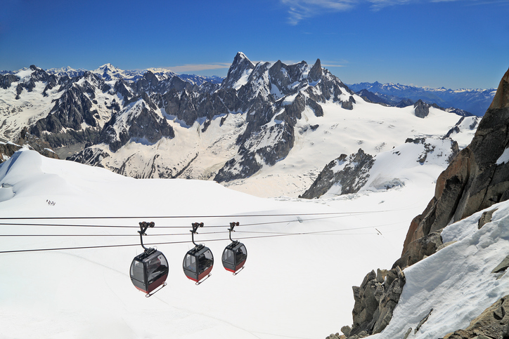 Aiguille du Midi gondolas in French Alps
