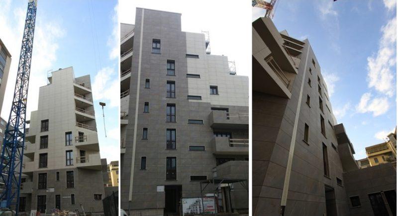 La facciata ventilata del nuovo edificio residenziale realizzato a San Donato Milanese