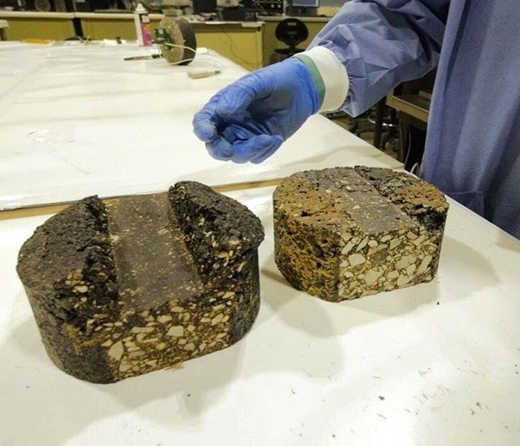 Pezzi di asfalto realizzati con il letame die maiali © National Science Foundation