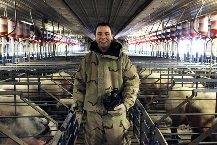 Il ricercatore Daniel Oldham, nell'allevamento della N.C. A&T State University © Carla Kucinski