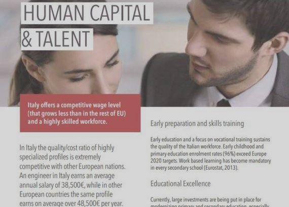 La brochure 'incriminata' Invest in Italy: si legge chiaramente il confronto tra il salario annuo di un ingegnere italiano con quello di un omologo europeo