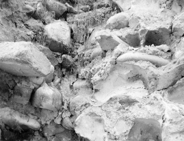 Ciottoli coesi con malta povera di calce (Foto Eva Coïsson)