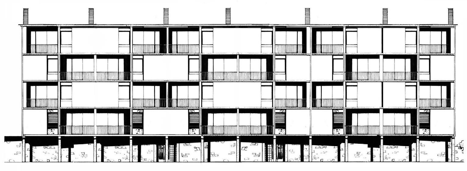 Franco 13_FIG 5_Edificio INA-Casa in via Bernabò Brea, Genova, 1953-57, L.C. Daneri, prospetto sud (Foto Archivio Daneri, Genova)
