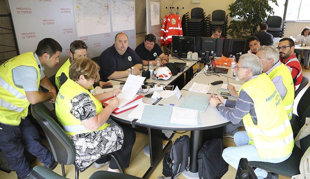 Team al lavoro sull'esercitazione Magnitudo 5.5, tenutasi a Torino a Giugno, che ha utilizzato l'applicativo Erikus prima del sisma della scorsa estate. © Protezione Civile