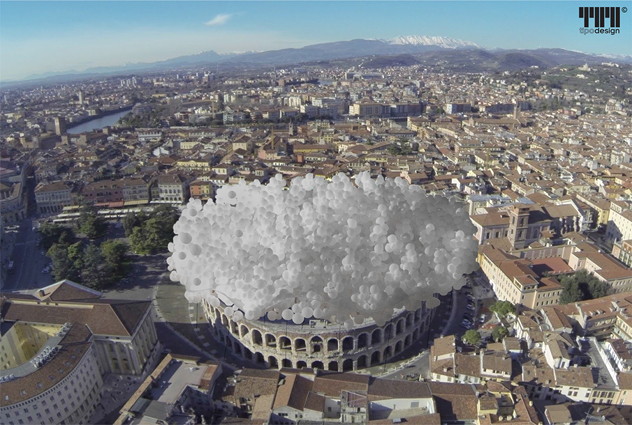 copertura arena di verona e se fosse stata una nuvola