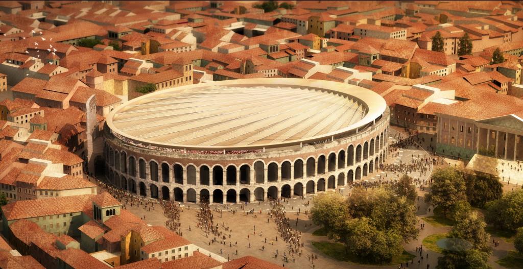 La soluzione progettuale vincitrice, proposta da SBP schlaich bergermann partner + GMP Architekten/Fonte: Comune di Verona