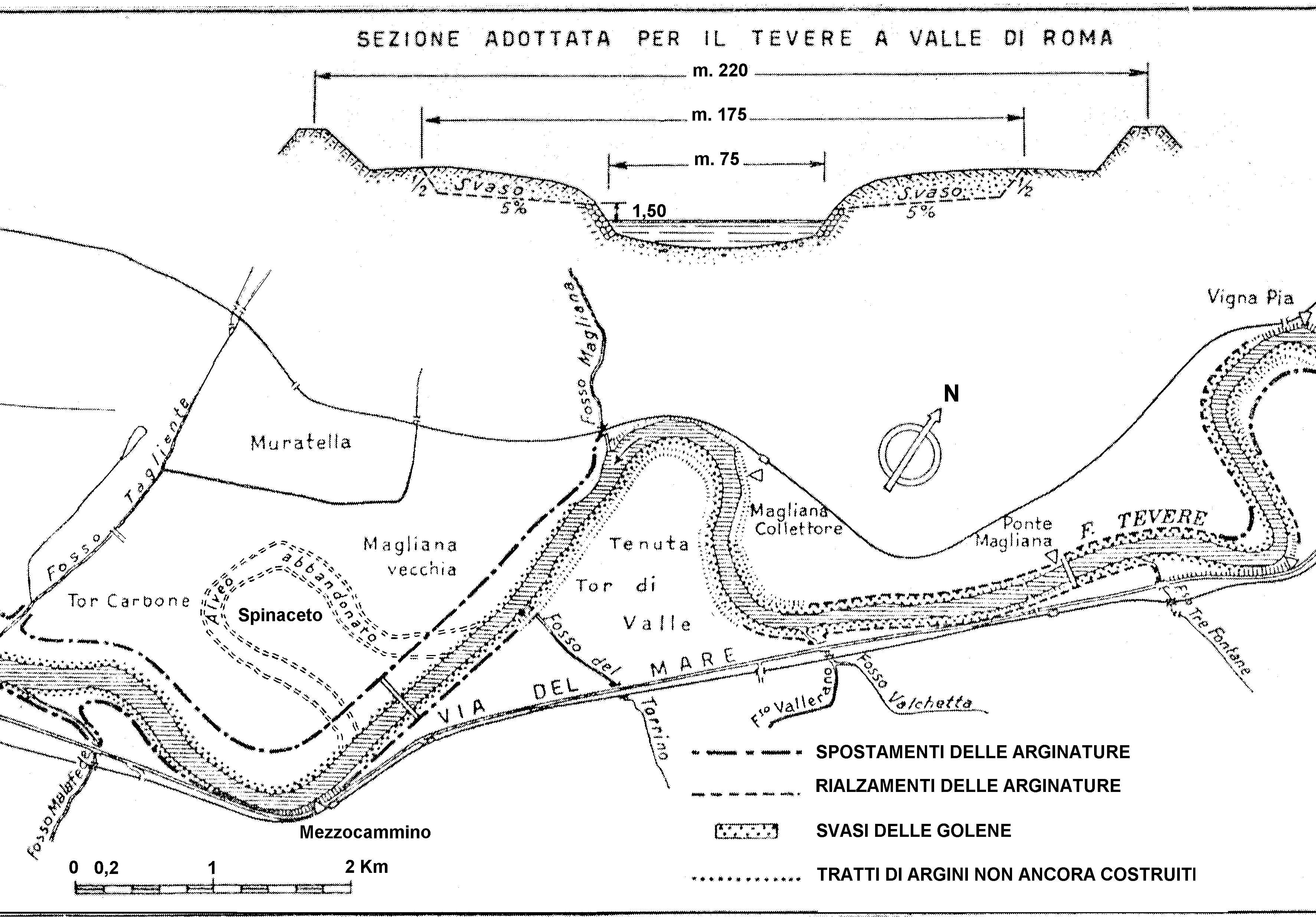 Il meandro di Tor di Valle e  il drizzagno di Spinaceto. Il Fosso di Vallerano in sinistra idrografica del Tevere (Fonte: Frosini, 1977, modificato).