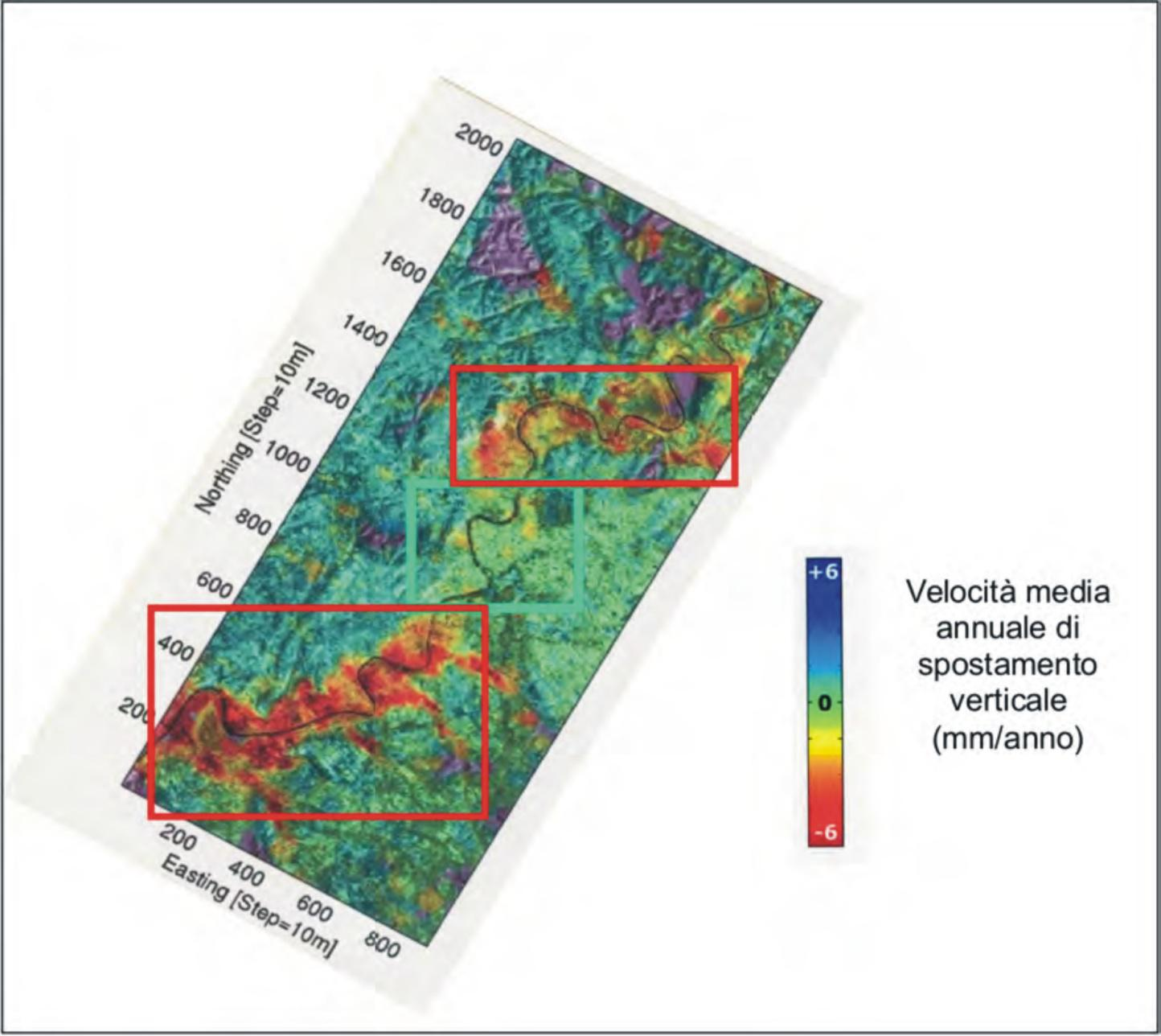 Il meandro nella parte inferiore della immagine è quello in esame. Come si nota, la velocità di subsidenza indicata dai rilevi interferometrici satellitari è pari ad almeno 3-4 mm/anno (Fonte: Campolunghi ed altri, 2008).