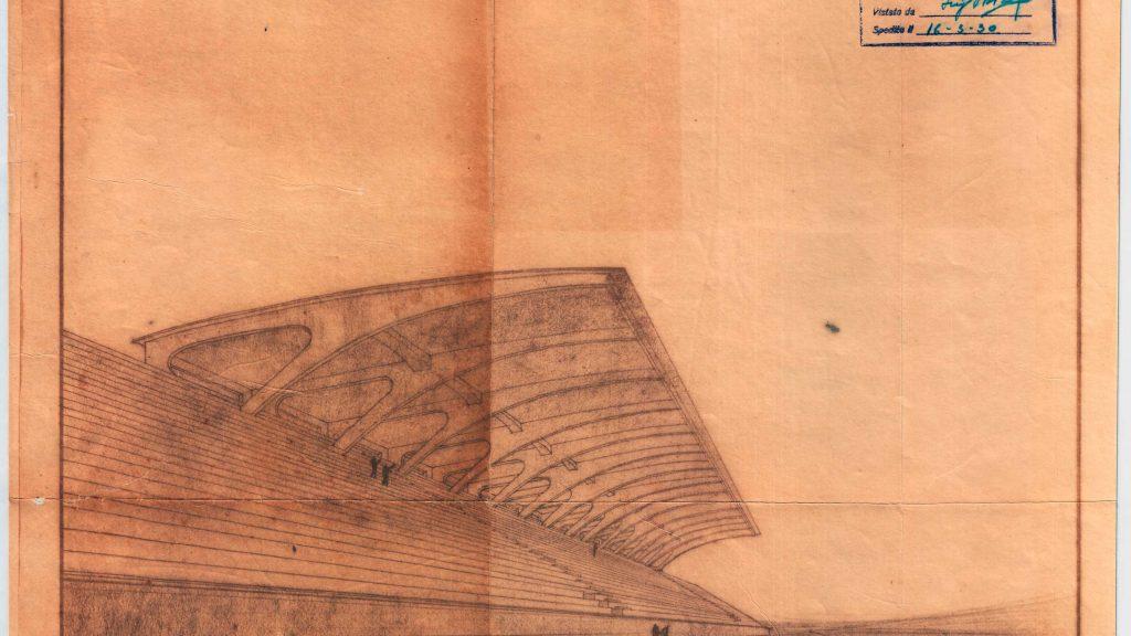 Stadio Berta Firenze 1935 -  Prospettiva  - Pier Luigi Nervi