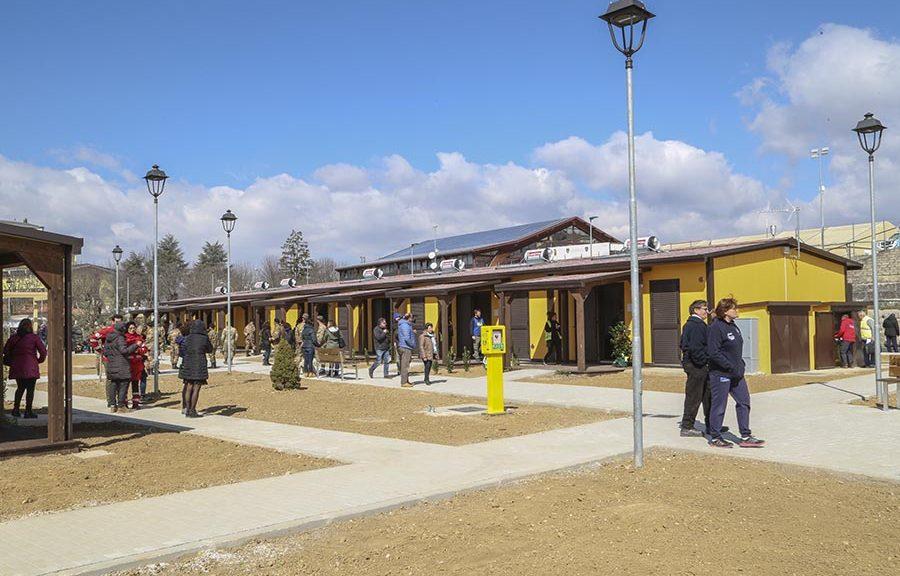 Una fotografia della consegna delle Sae nell'area Campo zero di Amatrice (Fonte: Protezione Civile)