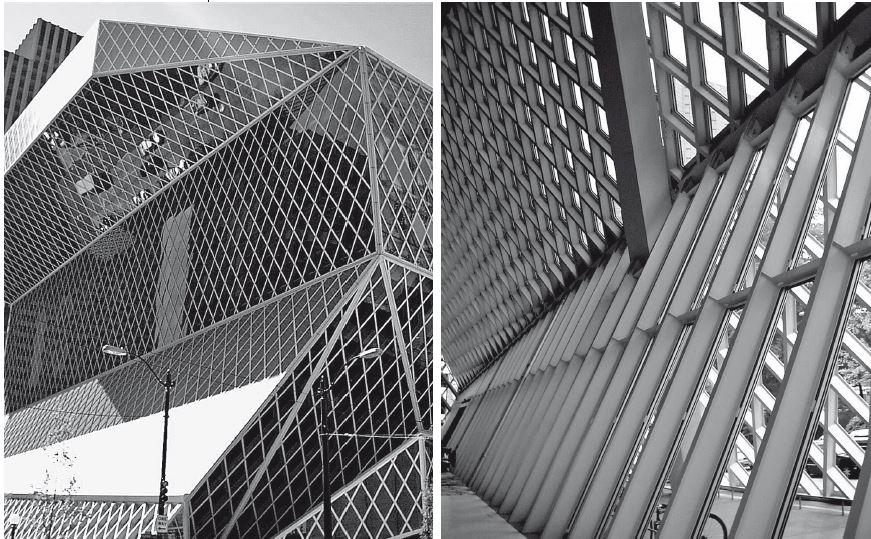 Seattle, Seattle Public Library, struttura a montanti e traversi non ortogonali, OMA, 1999-2004