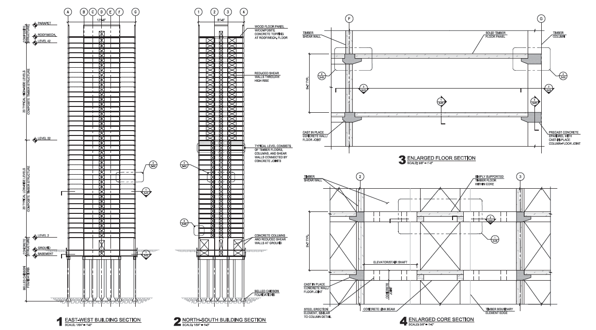 Timber Tower - sezioni © SOM