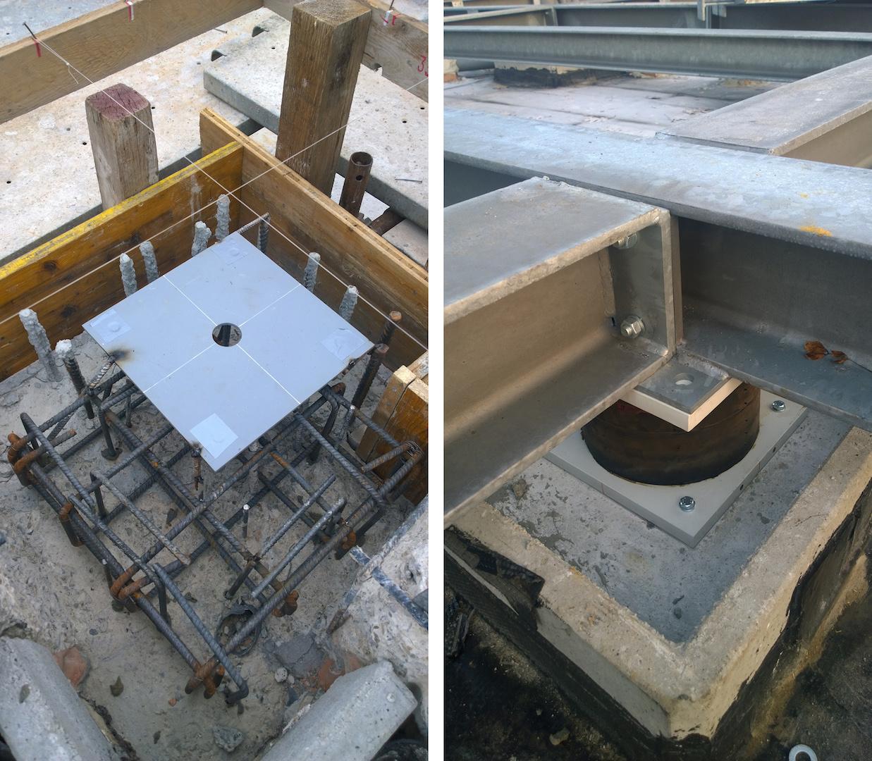 Come vengono innestati gli isolatori sismici sulla sommità dei pilastri esistenti © Marco Peroni Ingegneria