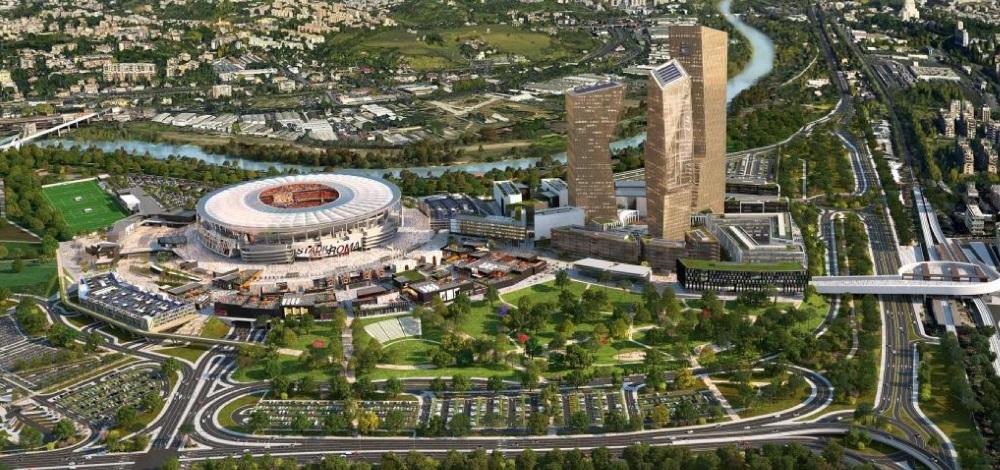 Il rendering primitivo del nuovo stadio dell'As Roma: le torri non ci saranno.