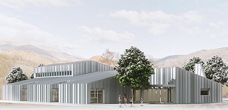 Il render del progetto di nuovo plesso scolastico per Accumoli – © Università La Sapienza di Roma
