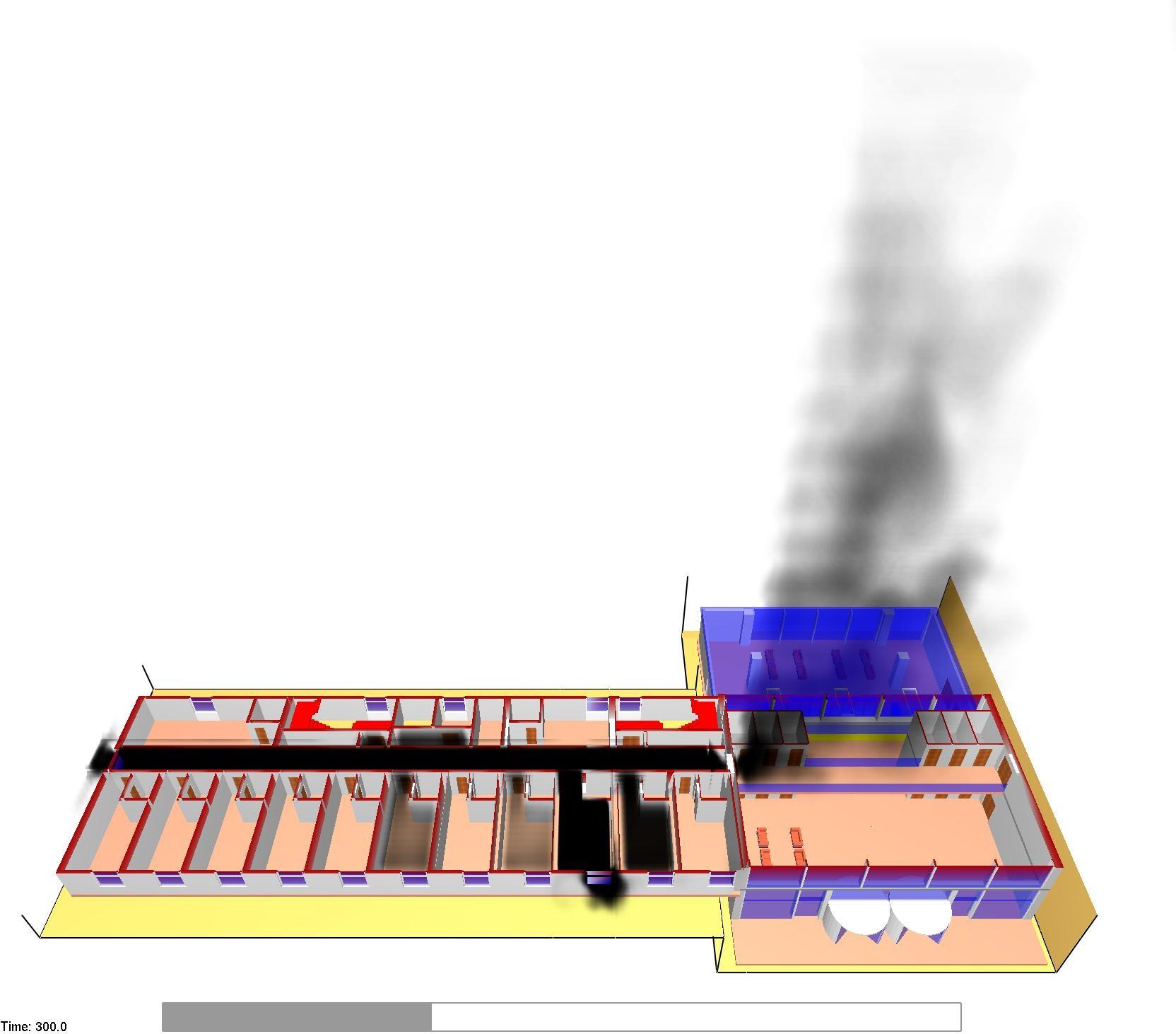 Modellazione dell'incendio con propagazione nel corridoio di piano