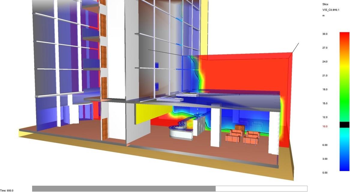 Modellazione dell'incendio nella hall al piano terra