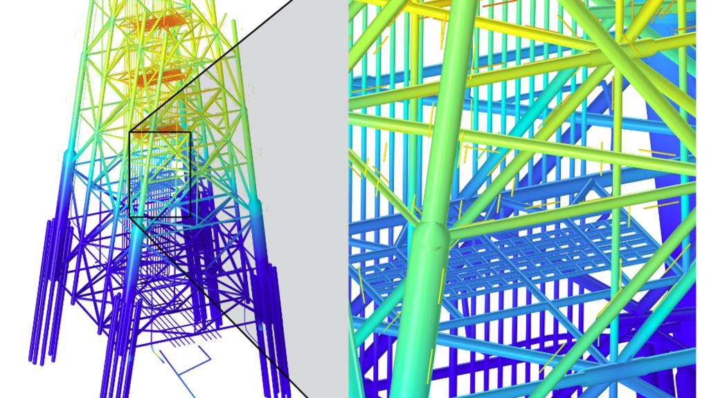Simulazione numerica della distribuzione del potenziale elettrochimico su una piattaforma petrolifera immersa in acqua marina, realizzata con il Boundary Element Method