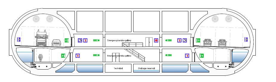 Figura 5 - Soluzione Pontoon: sezione del tunnel (profile T9.5 - classe E) - (Fonte: SVV – Statens Vegvesen)
