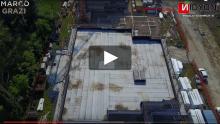 Un cantiere di edifici antisismici in Emilia: la tecnologia Nidyon protagonista delle riprese di un drone