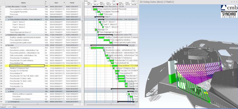 Esempio di integrazione 4D tra cronoprogramma e modello BIM © CMB-Federica Zanetti