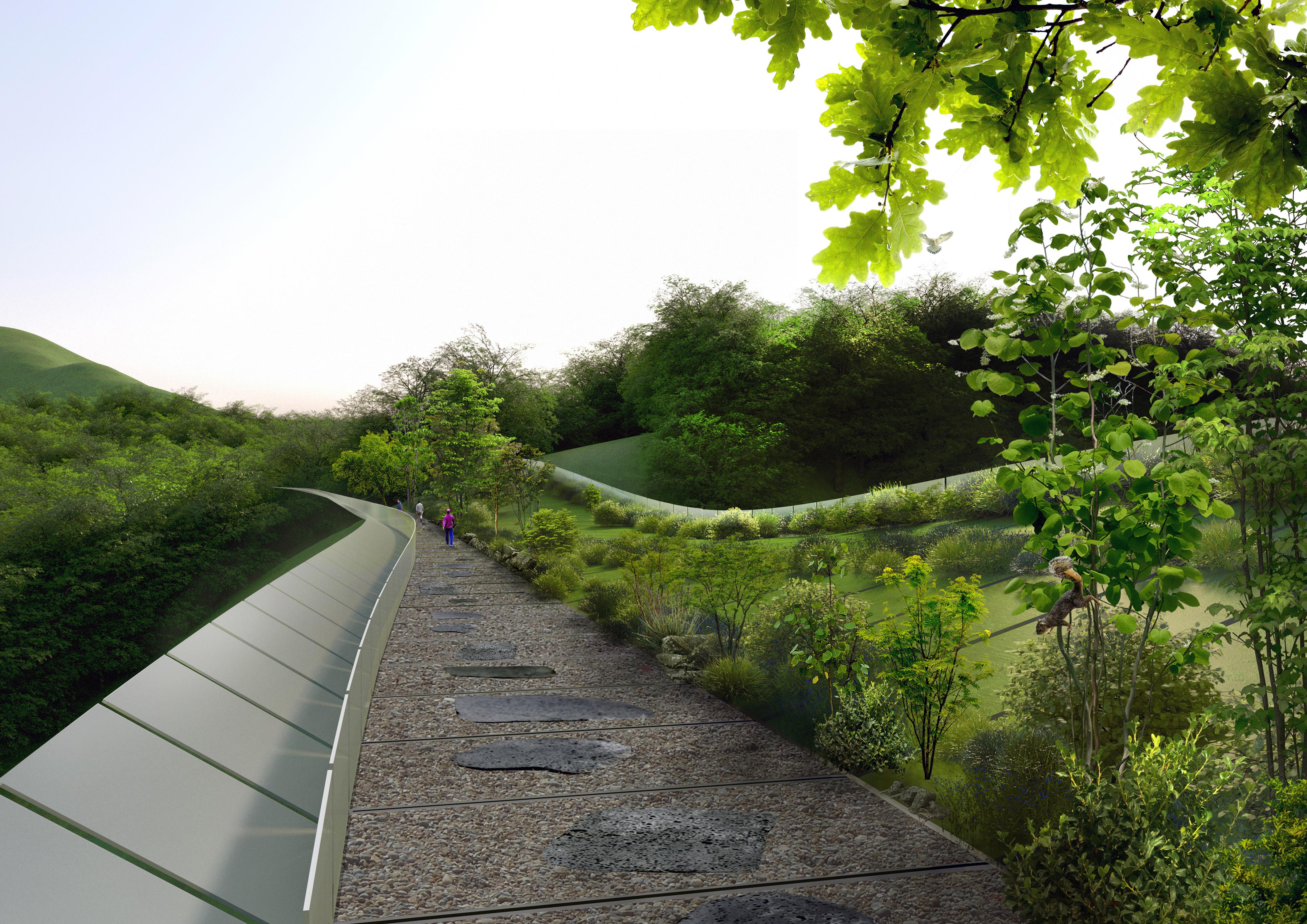 Il dualismo del concept progettuale e strutturale: da una parte il percorso dell'uomo, dall'altra il pendio verde che preserva l'habitat animale © Kild