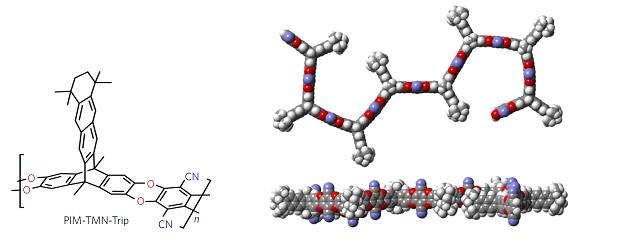 Struttura chimica del polimero con la rappresentazione della sua struttura bidimensionale