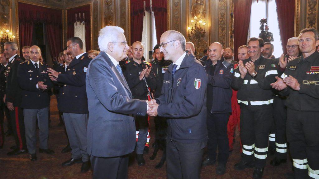 Fabrizio Curcio nell'incontro con il presidente della Repubblica, Sergio Mattarella, lo scorso marzo (fonte: Protezione Civile)