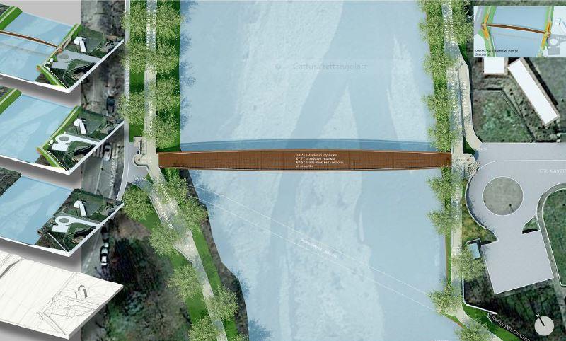 """Render del ponte secondo il progetto """"A"""" firmato dal capogruppo Mario Macchiorlatti Dalma"""