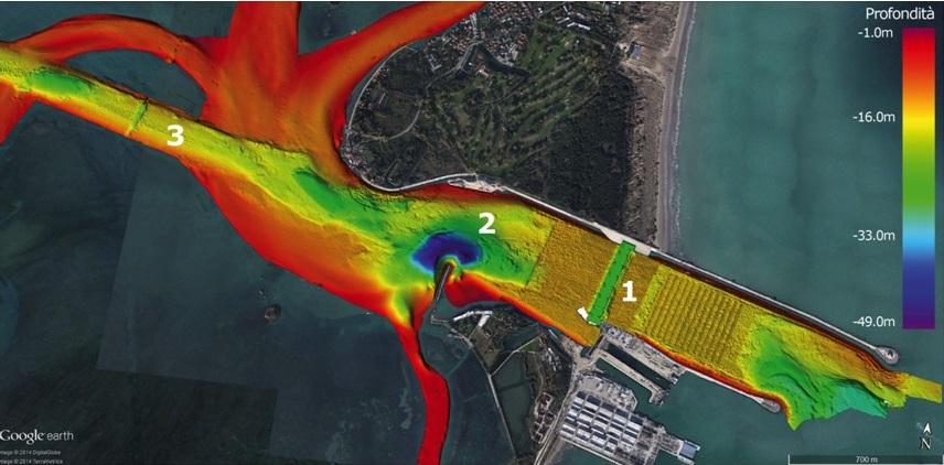 Bocca di Porto di Malamocco (1 alloggiamento barriere MOse; 2 fossa delle ceppe profonda 48 m; 3 il canale dei petroli)