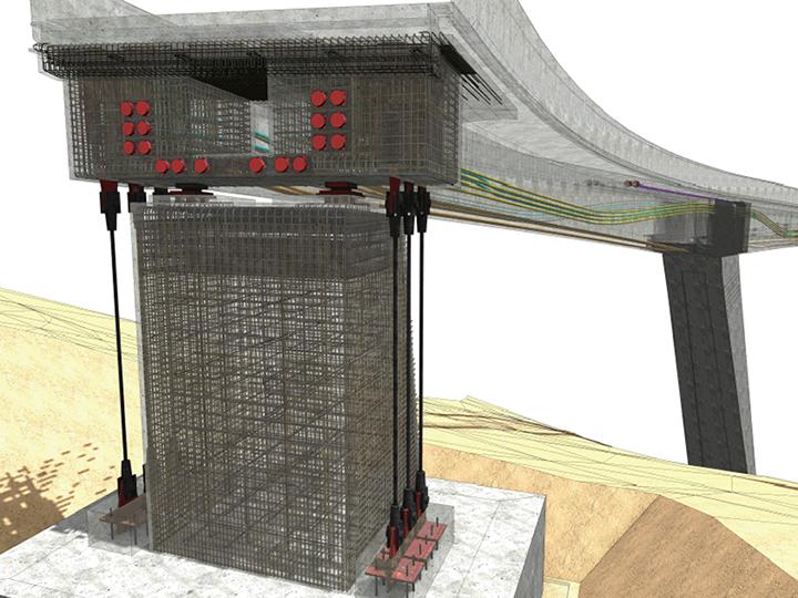 Con Allplan Engineering 2018 si possono creare comodamente anche strutture portanti a doppia curvatura con sezione variabile come quella del ponte della Tamina a Pfäfers in Svizzera – Leonhardt, Andrä und Partner / © Bastian Kratzke