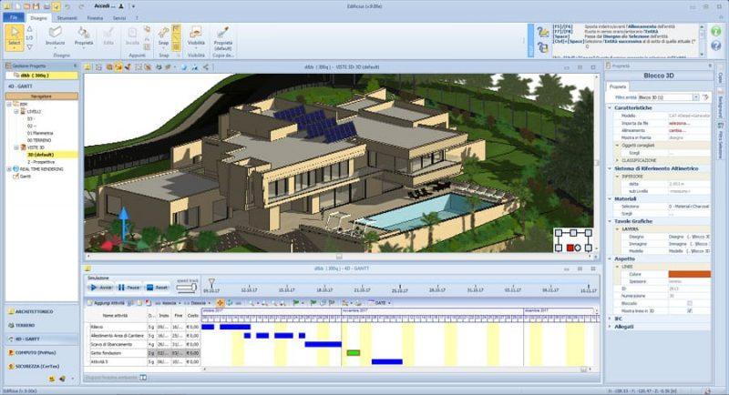 Modellazione BIM 4D. Si evidenzia la timeline relativa alla pianificazione e alla evoluzione temporale del modello BIM