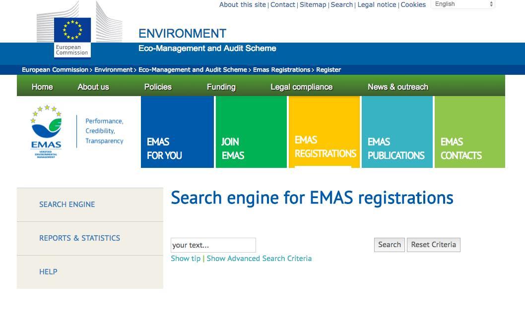 Il sito europeo Emas per la registrazione