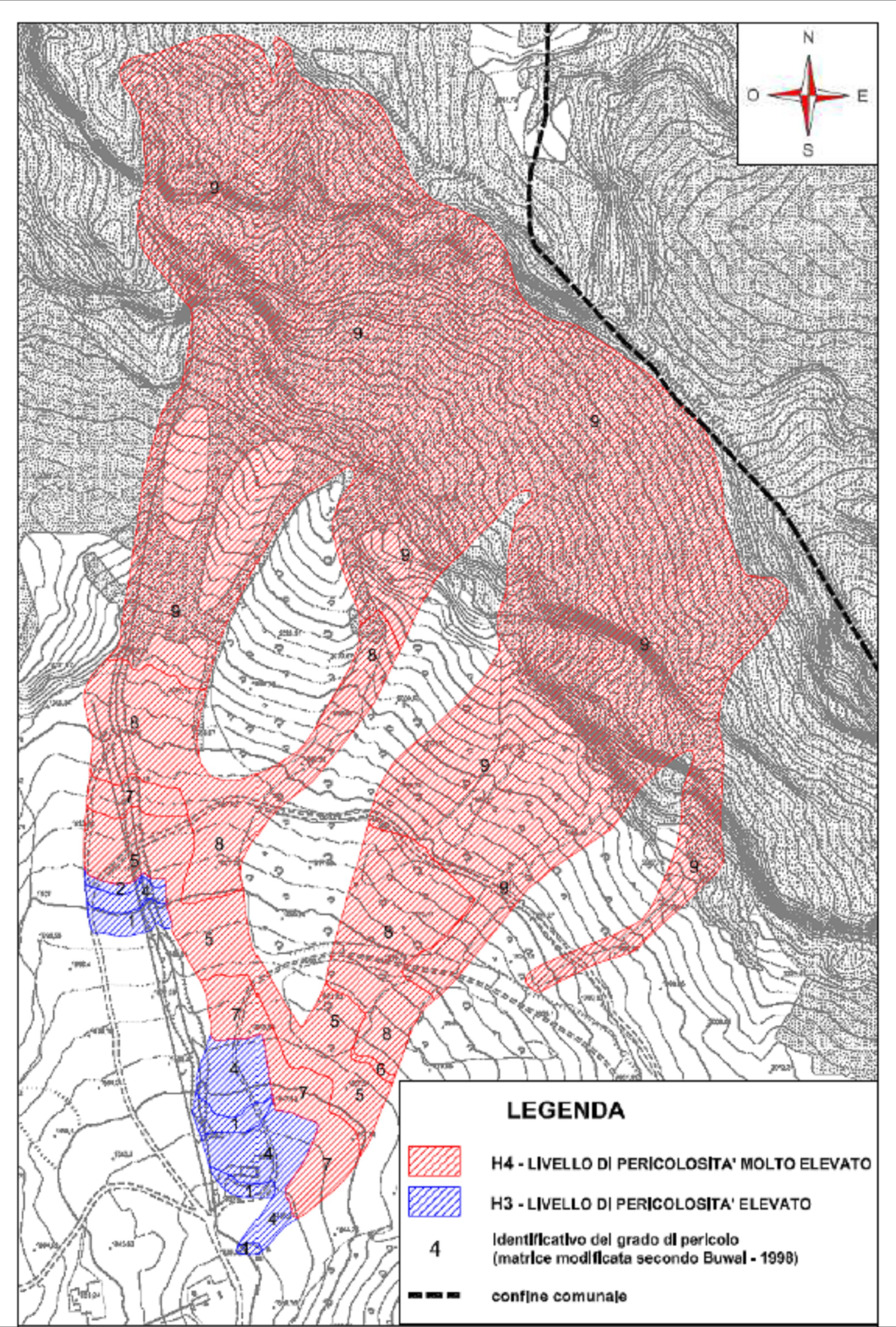 Figura 4 - Esempio di Carta del pericolo di un sito valanghivo per valanghe radenti